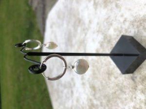 Cultured Pearl and Sterling Silver Hoop earrings