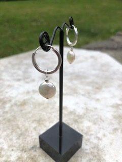 Cultured Pearl and Sterling Silver Hoop earrings