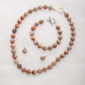 Tan Agate Necklace, Bracelet and earrings
