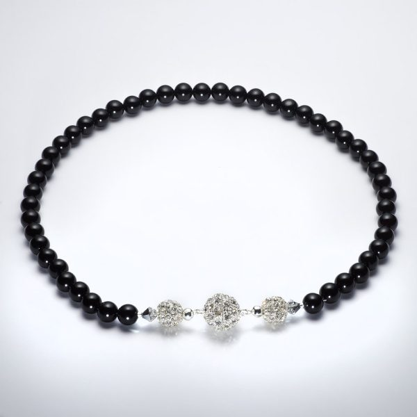black onyx Necklace with Magnet clasp made in ireland