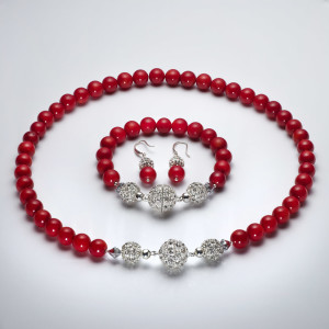 Red Coral with rhinestone crystal beads and sterling silver