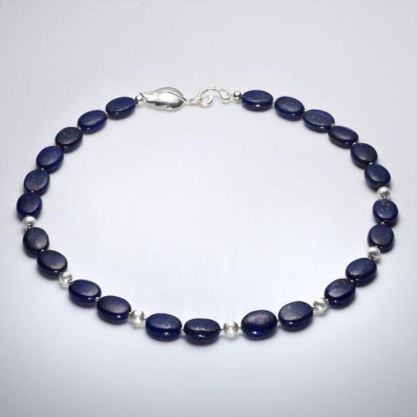 Lapis Lazuli Necklace + Earrings Blue with gold flecks and sterling silver clasp