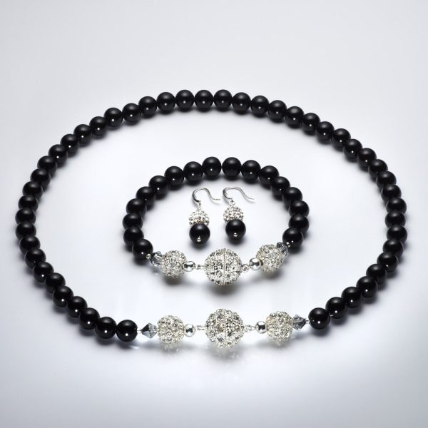 Dubh - Black Onyx with Swarovski Crystals and Rhinestone Encrusted Beads & Rhinestone Magmetic Clasp 17