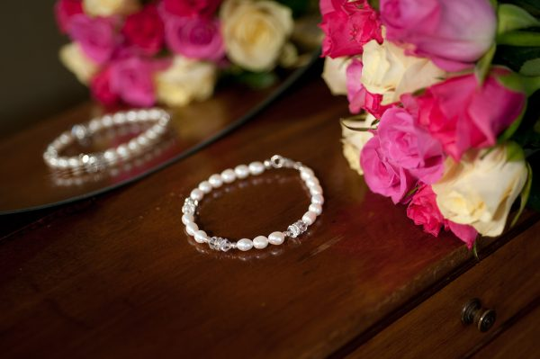 Laura -  freshwater pearl and crystal rondelle Bracelet 28