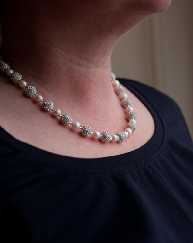 Karen - Freshwater Pearls with encrusted crystal beads 5
