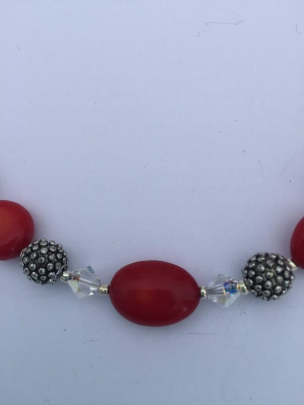 Red Coral and Swarovski Crystals irish jewellery designer