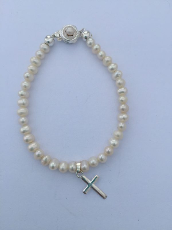 Arora Crystal - Children's Pearl & Crystal Silver Bracelet 2