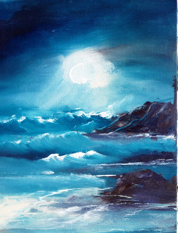 Moonlight Across the Waves. Original Canvas Oil Painting.