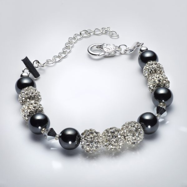 Sparkle - Hematite and Clear Swarovski Crystal Necklace 4