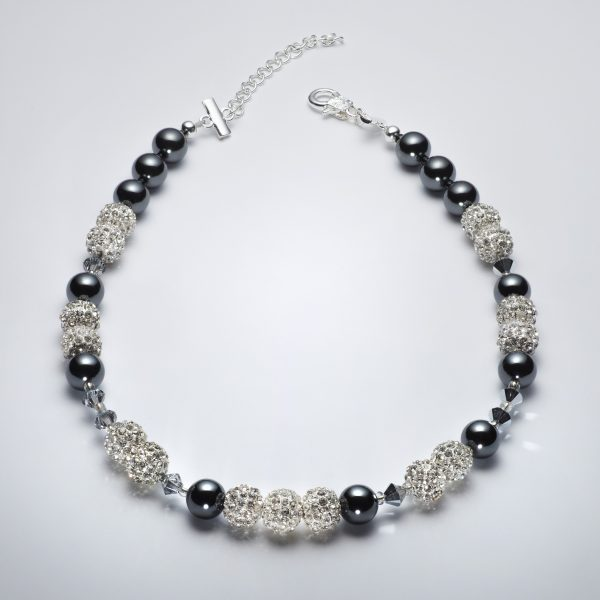 Sparkle - Hematite and Clear Swarovski Crystal Necklace 7