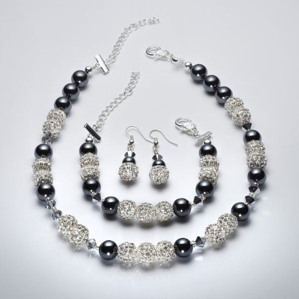 Sparkle - Hematite and Clear Swarovski Crystal Necklace 3
