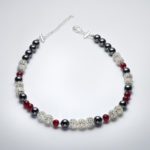 Sparkle - Hematite and Deep Red Crystal Necklace 2