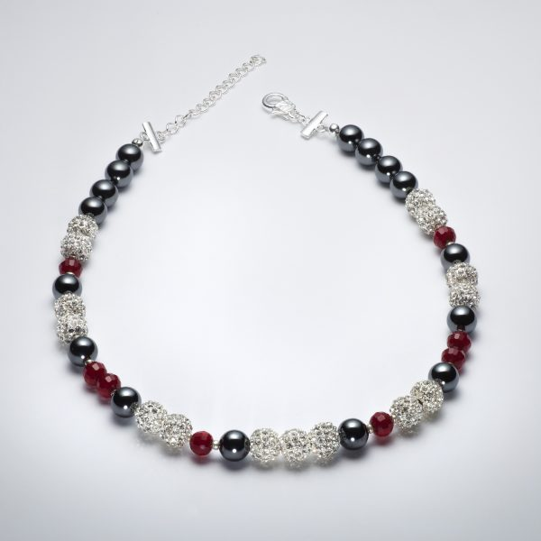 Sparkle - Hematite and Deep Red Crystal Necklace 1