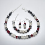 Sparkle - Hematite and Deep Red Crystal Necklace 4