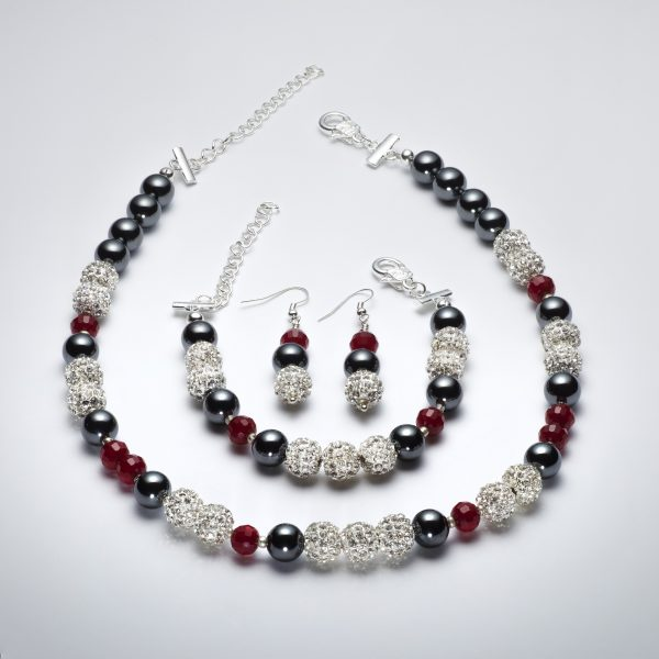 Sparkle - Hematite and Deep Red Crystal Necklace 7