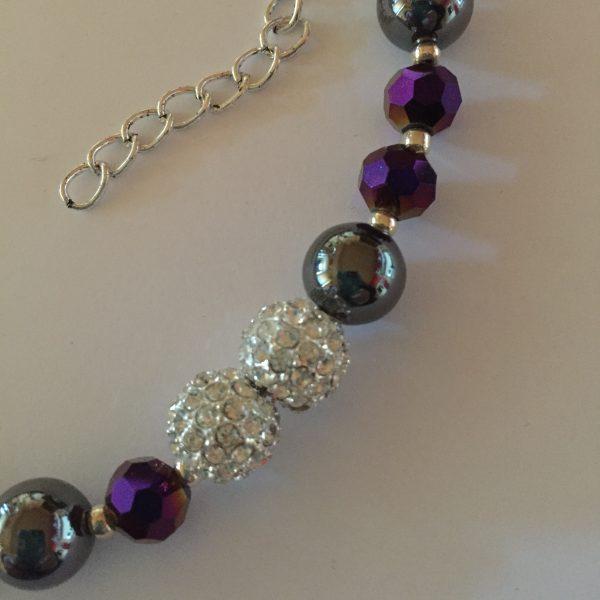 Sparkle - Hematite and deep purple crystal Necklace 4