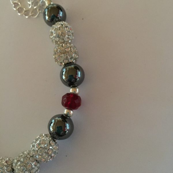Sparkle - Hematite and Deep Red Crystal Necklace 13