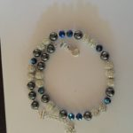 Sparkle - Hematite and Deep Blue Crystal Necklace 2