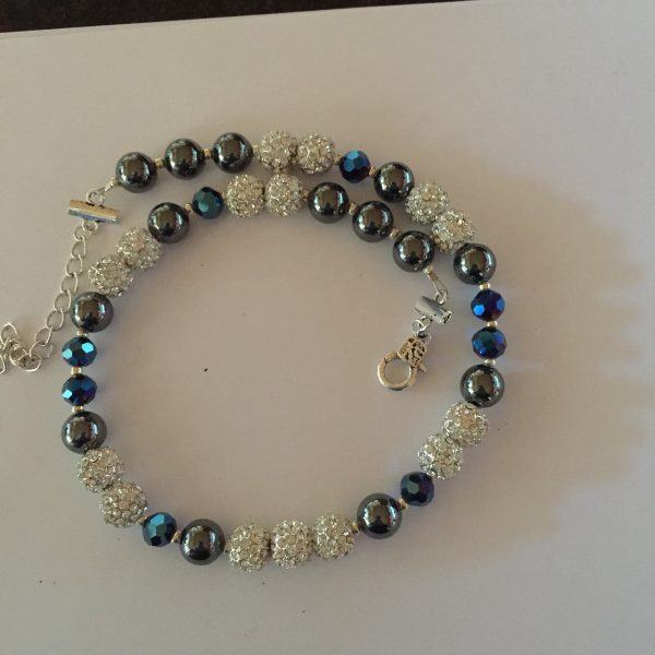 Sparkle - Hematite and Deep Blue Crystal Necklace 1