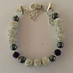 Sparkle - Hematite and Deep Blue Crystal Bracelet 2
