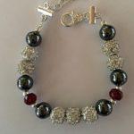Sparkle - Hematite and Deep Red Crystal Bracelet 2