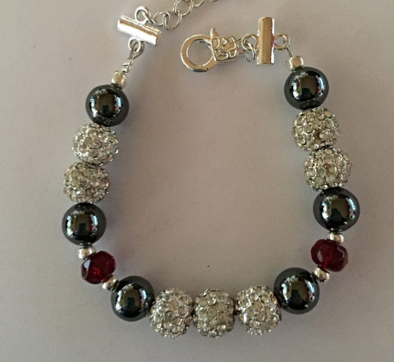 Sparkle - Hematite and Deep Red Crystal Bracelet 1