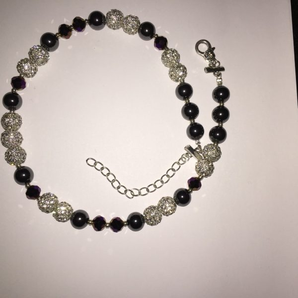Sparkle - Hematite and deep purple crystal Necklace 1