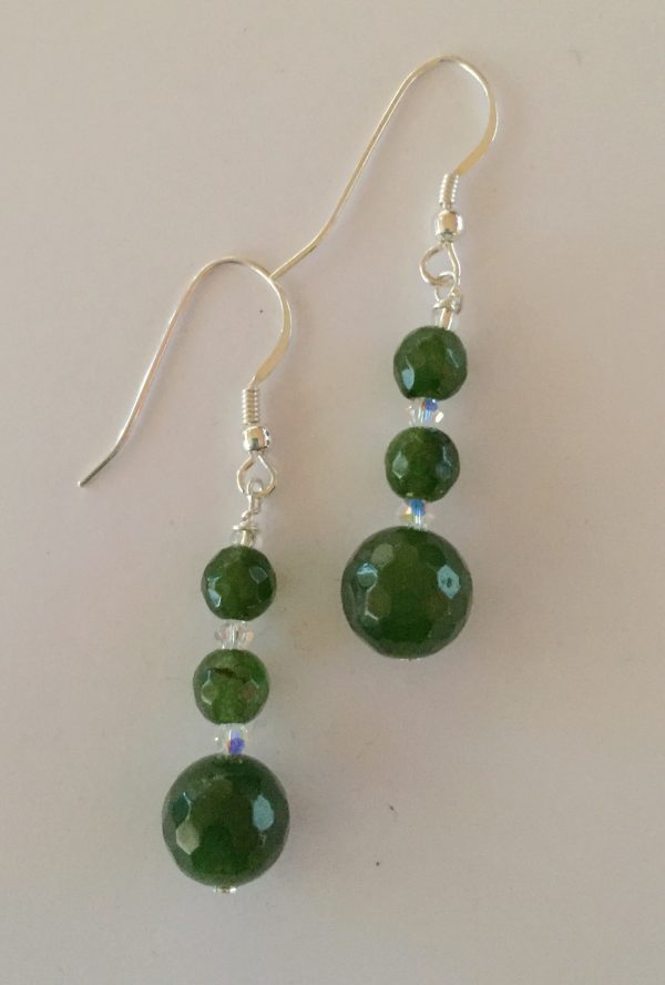 Jade Earrings with Swarovski Crystals and Sterling Silver 1