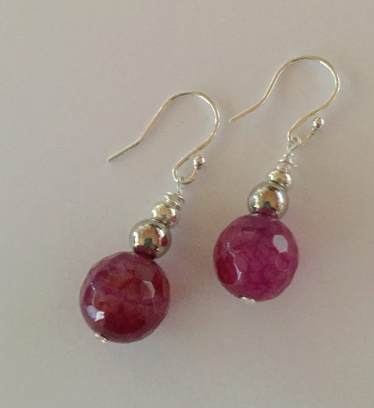 Amanda  - Pink Agate and Sterling Silver earrings 1