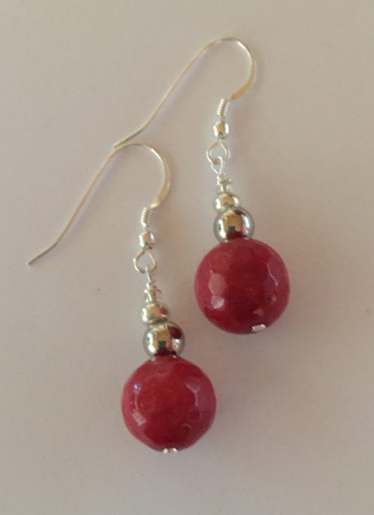 Amanda - Red Jade Earrings 2