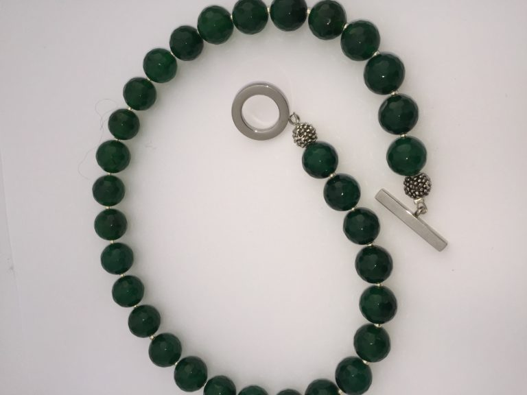Emerald Green Agate Necklace - 'Agate' 17