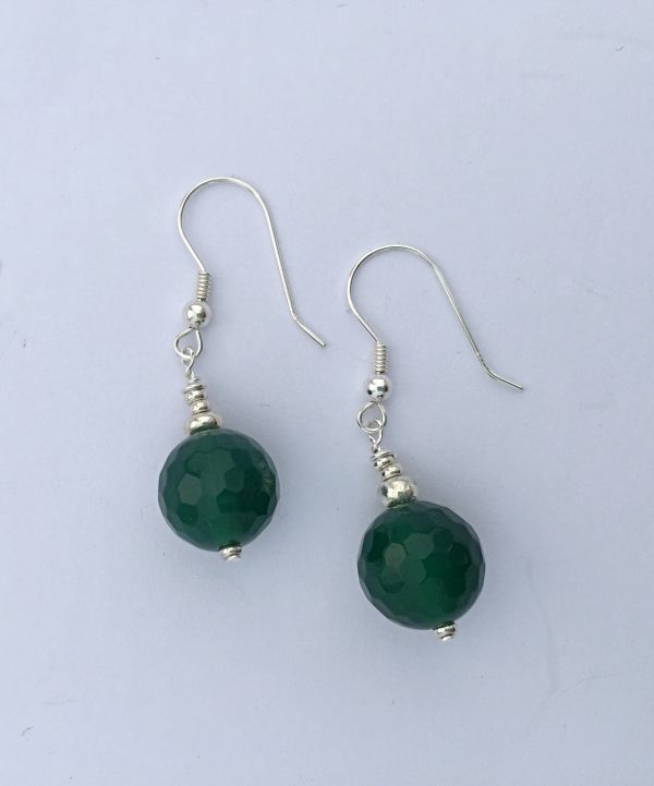 Amanda  Emerald - Green Agate Earrings with Sterling silver earring wire 2