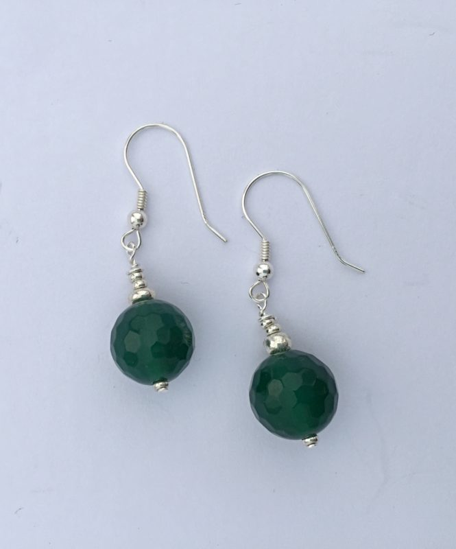 Amanda  Emerald - Green Agate Earrings with Sterling silver earring wire 7