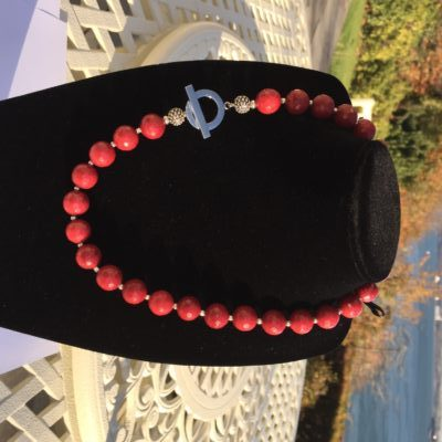 Red Jade Necklace, Handmade in Ireland