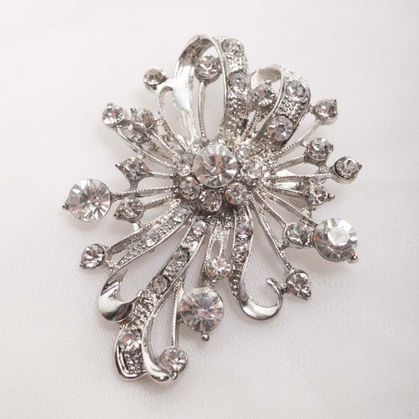 Floral Spray Brooch -  White Glass pearls on  flower base with crystals 8