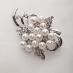 Floral Spray Brooch -  White Glass pearls on  flower base with crystals 4