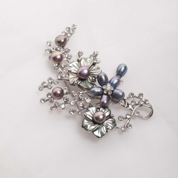 Floral Spray Brooch -  White Glass pearls on  flower base with crystals 2