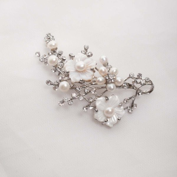 Floral Spray -  White Freshwater pearls on Mother of pearl flower base with crystals 3