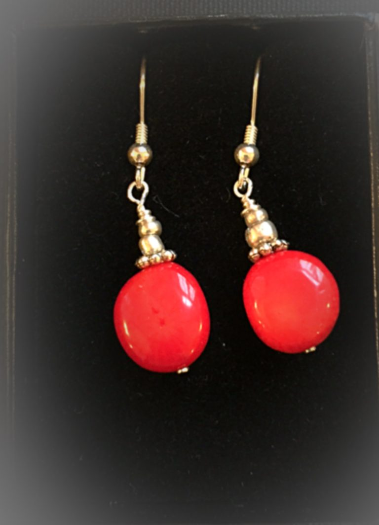 Lipstick - Earrings Coral and sterling Silver 13