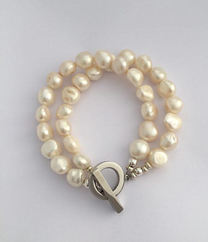 Lady Jane - Large freshwater pearl double strand necklace 14