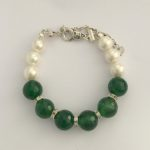 Caltic - Swarovski pearls and Green Faceted Agate Necklace 1