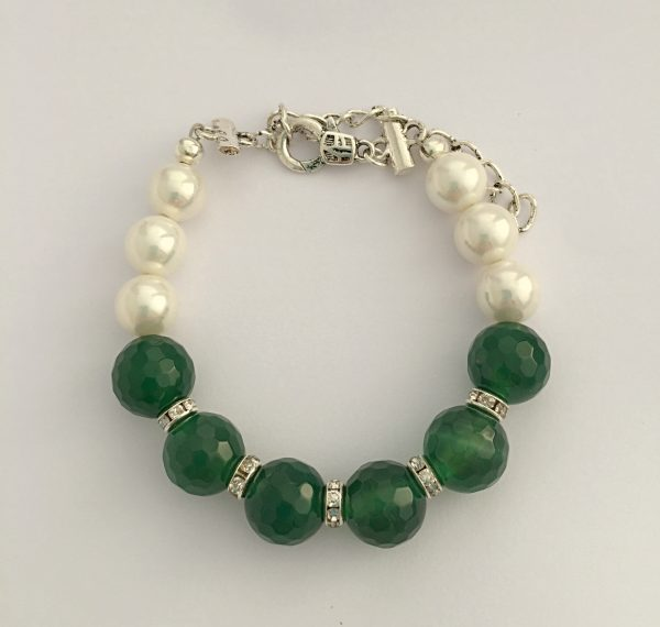 Caltic - Swarovski pearls and Green Faceted Agate 1
