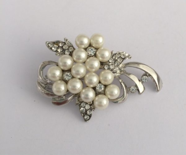 Floral Spray Brooch -  White Glass pearls on  flower base with crystals 5