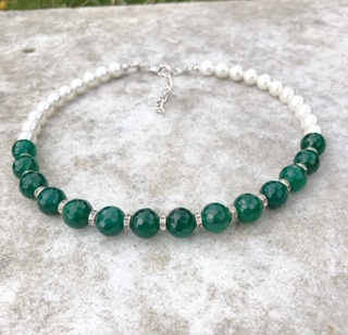 Caltic - Swarovski pearls and Green Faceted Agate Necklace 14