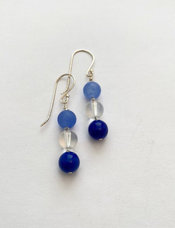 Agate Crystal and Sterling Silver Earrings