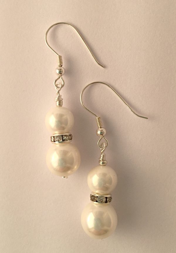 Rachel - Glass pearls with crystal rondelle 10