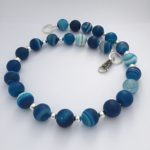 Blue Banded Matt Agate Necklace with Sterling Silver Clasp 2