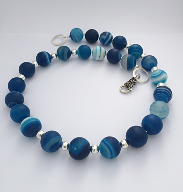 Blue Banded Matt Agate Necklace with Sterling Silver Clasp 1
