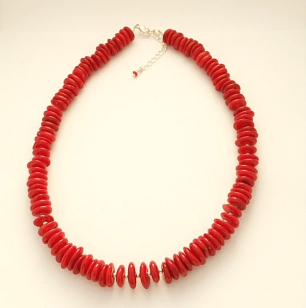 Red Coral and Sterling Silver Necklace 15