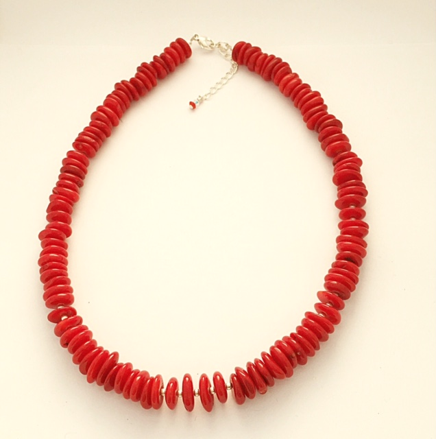 Red Coral and Sterling Silver Necklace 1